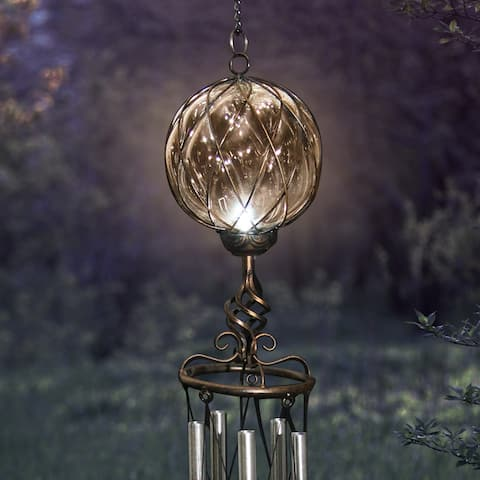Exhart Solar Caged Glass Wind Chime with Metal Finial, 6 by 45 Inches