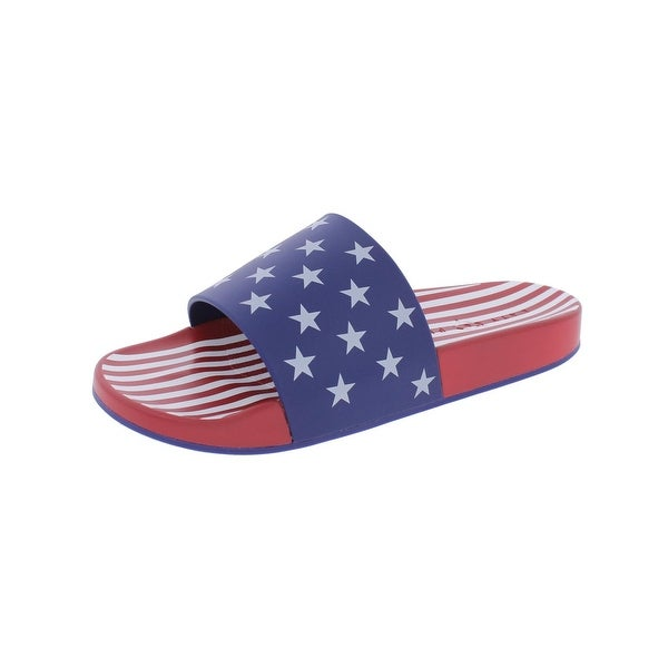 Katy Perry Womens The Betsy Slide Sandals Striped Open Toe - 8 medium (b,m)