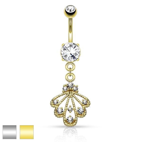 CZ Ends Braided Fan Dangle Surgical Steel Belly Button Navel Ring - 14GA (Sold Ind.)