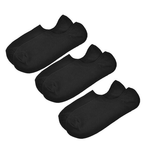 Unique Bargains Men Black Elastic Low Cut No Show Sport Boat Socks 3 Pairs