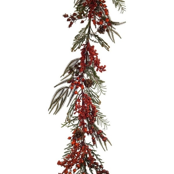 """Pack of 4 Red and Green Winter Berry Garland 57"""""""