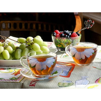 STP Goods Daisies Durable Glass Tea Cup and Saucer Set of 2
