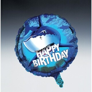 "Club Pack of 12 Shark Splash ""Happy Birthday"" Metallic Party Balloons 18"""