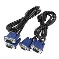 Unique Bargains 2 Pcs 15 Pin VGA Male to Male Connector Cable for PC LCD Monitor