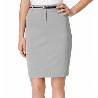 Calvin Klein NEW Gray Women's 12P Petite Belted Straight Pencil Skirt