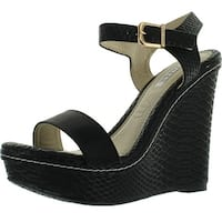 Kayleen Cheri-3 Womens Fashion Strappy High Heel Platform Wedge Sandals - Black