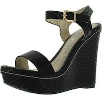 Kayleen Cheri-3 Womens Fashion Strappy High Heel Platform Wedge Sandals - Black