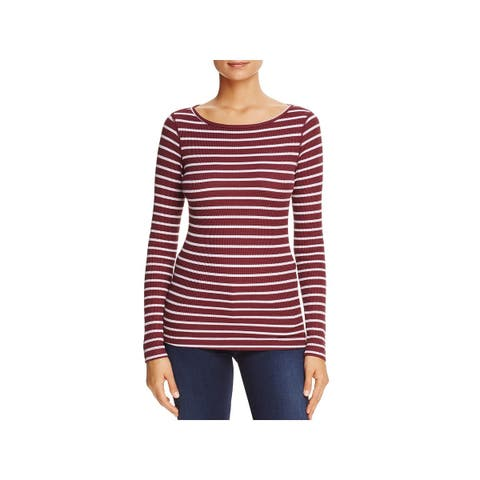 Three Dots Womens Thermal Top Striped Round Neck