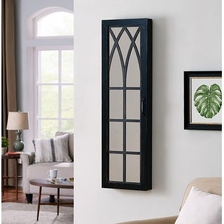 FirsTime & Co.® Black Farmhouse Arch Jewelry Armoire, American Crafted, Black, Wood, 14 x 3.75 x 43 in - 14 x 3.75 x 43 in