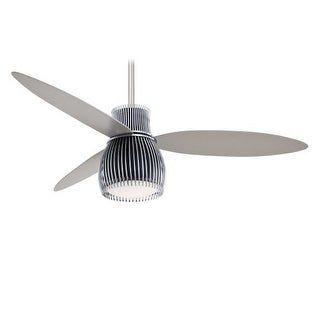 "MinkaAire Uchiwa 3 Blade 56"" Uchiwa Ceiling Fan with Integrated Halogen Light and Wall Control Included (Option: Brass Finish)"