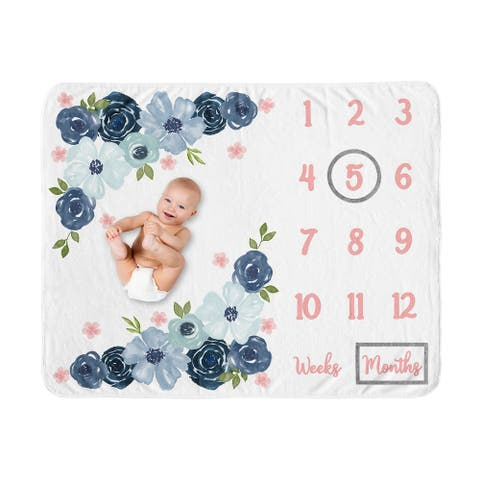Watercolor Floral Collection Girl Baby Monthly Milestone Blanket - Navy Blue and Blush Pink Boho Shabby Chic Rose Flower