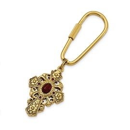 14k Gold IP Red Austrian Crystal Elements & Glass Cross Key Fob