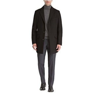 Ryan Seacrest Distinction Mens Slim Fit Wool-Cashmere Overcoat 42L Black Coat