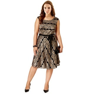 SLNY Fashions Plus Size Belted Metallic Lace Sleeveless Cocktail Dress - 22W