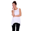 Simply Ravishing Women's Solid Round Neck Sleeveless High Low Asymmetrical Hem Tunic Top - Thumbnail 2