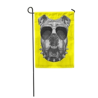 Dog Original Drawing of English Bulldog with Collar and Sunglasses Colored Boy Garden Flag Decorative Flag House Banner