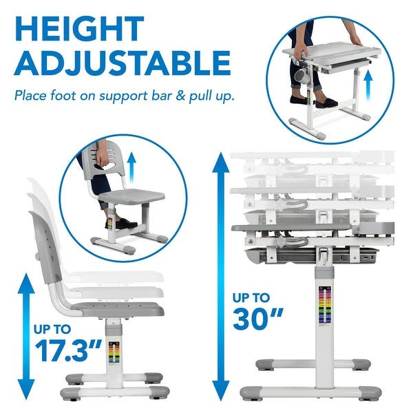 Studying Height Adjustable Desk for Kids MOUNT-IT Childrens Workstation with Tilting Desktop and Drawer for Storage Reading Ergonomic Study Table for Writing 37.4 x 26 Drawing GRAY
