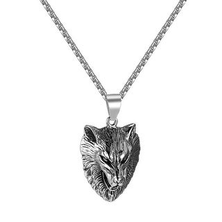Wolf Head Pendant Stainless Steel Custom Charm Animal Free Box Necklace Combo