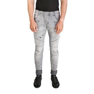Pierre Balmain Men's Slim Fit Distressed Biker Denim Jeans Pants Light Black