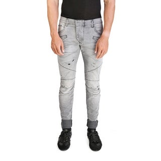 Pierre Balmain Men's Slim Fit Distressed Biker Denim Jeans Pants Light Black