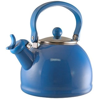 Calypso Basics by Reston Lloyd Harmonic Hum Whistling Teakettle with Glass Lid, 2.2-Quart, Azure