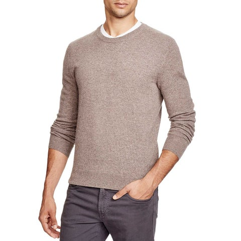 Bloomingdales Mens Toasted Almond Cashmere Crewneck Sweater Large Elbow Patches