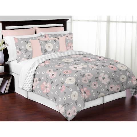 Grey Watercolor Floral Girl 3pc Full Queen Comforter Set - Blush Pink Gray White Shabby Chic Rose Flower Polka Dot Farmhouse
