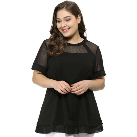Women's Plus Size Round Neck Lace Swing Yoke Top
