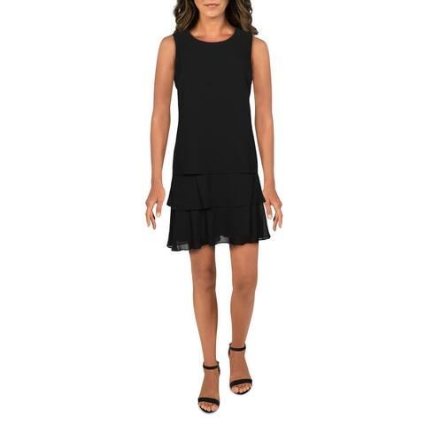 Lauren Ralph Lauren Womens Tyree Midi Dress Jewel Neck Layered - Black