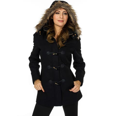 Alpine Swiss Duffy Womens Wool Coat Fur Trim Hooded Parka Jacket