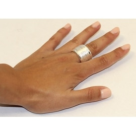 eli k STERLING SILVER 925 PLATE WIDE COIL CONTINUOUS UNISEX BAND RING sz 9