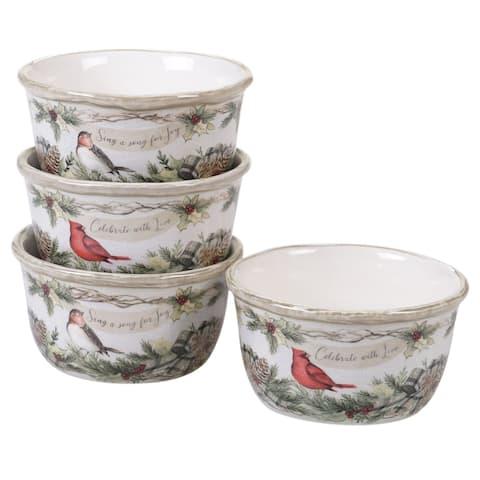 "4pc White and Red Cardinal Bird Christmas Ice Cream Bowl Set 5.5"""