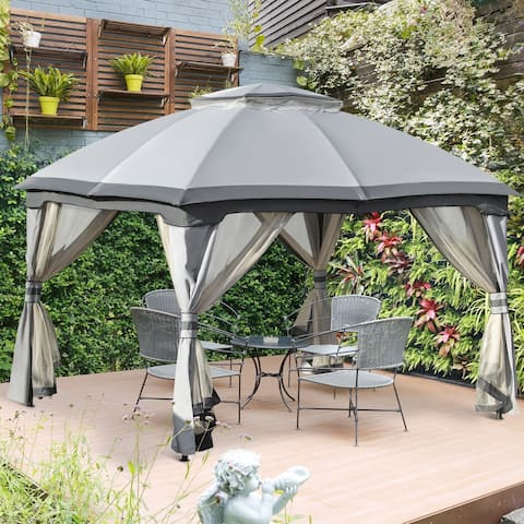 Outsunny 12' x 10' 2-Level Outdoor Gazebo Tent with Zippered Mesh Sidewalls, Solid Steel Frame, Arched Roof