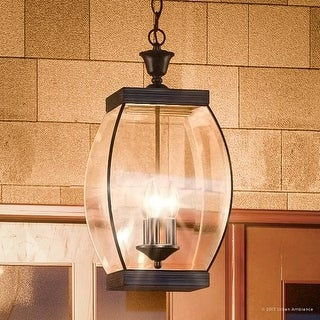 "Luxury Colonial Outdoor Pendant Light, 20.5""H x 9""W, with Transitional Style, Bowed Design, Medieval Bronze Finish"