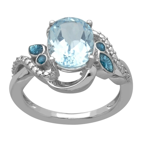 3 1/3 ct Natural Sky Blue Topaz Bouquet Ring in Sterling Silver