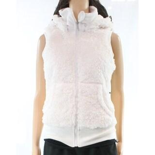 Kensie NEW White Women's Small S Faux Fur Hooded Full-Zip Vest Jacket