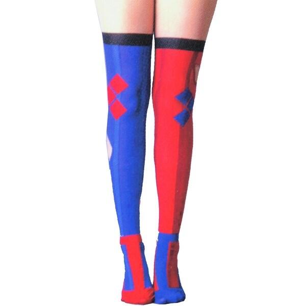 DC Comics Harley Quinn Women's Sheer Costume Tights - Multi
