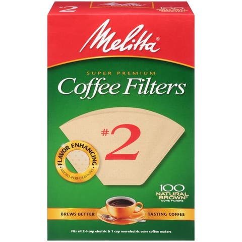 Melitta Super Premium #2 Cone Paper Coffee Filter Natural Brown, 100 Count, 2 Pack