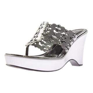 Carlos by Carlos Santana Womens Karina Studded Platform Wedge Sandals - 8.5 medium (b,m)