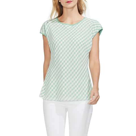 Vince Camuto Gingham Front Cap Sleeve Top, Green Bay, Medium