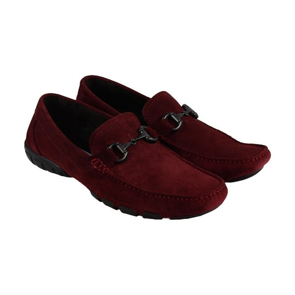 Kenneth Cole New York Design 10553 Mens Red Suede Casual Dress Loafers Shoes