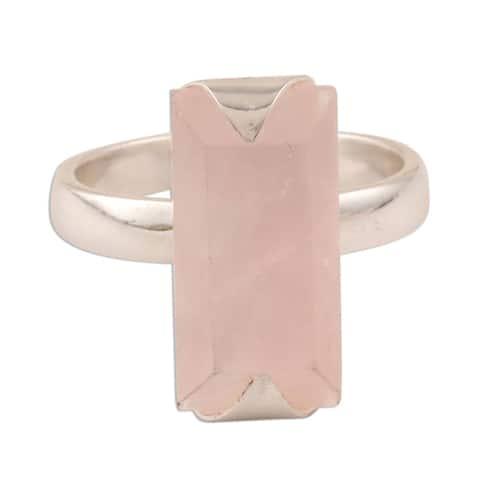 NOVICA Glorious Crystal, Rose quartz cocktail ring