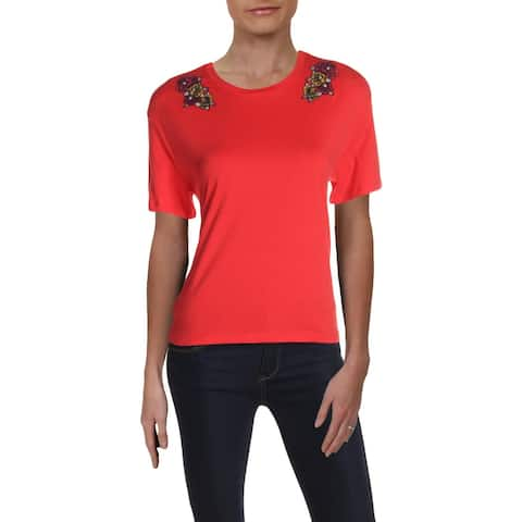 Puma Womens T-Shirt Cropped Embroidered - Hibiscus Peacoat