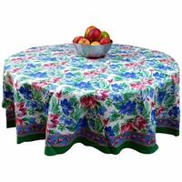Floral Brush Stroke Print Cotton Tablecloth Green Blue Rectangular Square Round Napkins Placemats