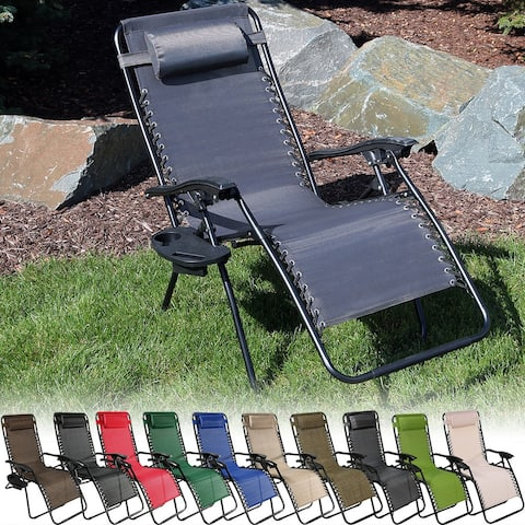 Sunnydaze Oversized Zero Gravity Lounge Chair & Cup Holder - Multiple Options