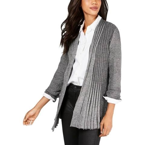 NY Collection Womens Petites Cardigan Sweater Marled Ribbed