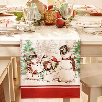Snowman Winterland Holiday Snowflake Table Runner - 13x70