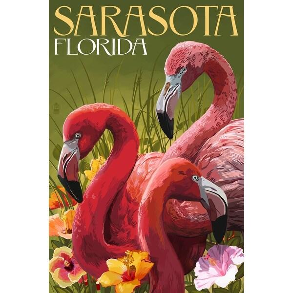 Sarasota, FL - Flamingos - LP Artwork (Acrylic Wall Clock)
