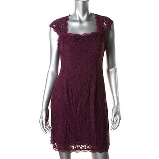 Adrianna Papell Womens Lace Cap Sleeves Cocktail Dress