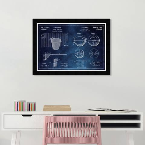 Wynwood Studio 'Basketball and Hoop Blue Chalkboard' Sports and Teams Blue Wall Art Framed Print